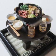 今夜はすき焼(ミニ)#miniaturefood #miniaturedrink #minidrink