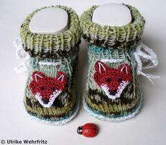 Strick- & Häkelschuhe - Babyschuhe Fuchs - ein Designerstück von strickliene bei DaWanda