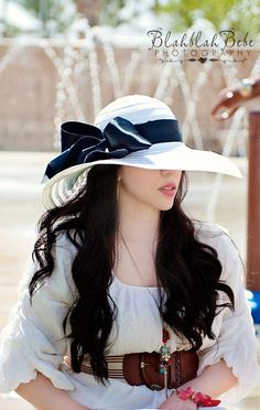 Sun Hat Wide Brim Sun Hat Hats Black and White by bandsbydesign, $20.00