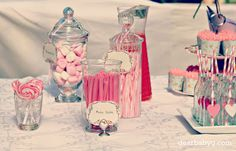pink lolly buffet  #First Birthday