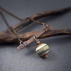 Lampwork glass bead necklace matte stones by entre2et7 on Etsy