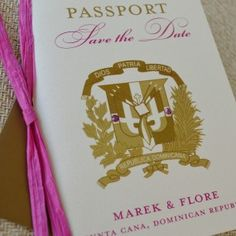 Dominican Republic Seal Passport Save the Date (Punta Cana) Passports are a great way to excite your guests about your destination wedding! Multiple pages provide enough information about traveling accommodations wedding day events and more.
