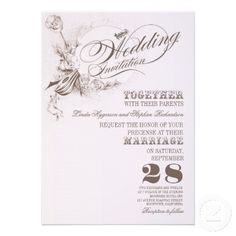"""beautiful vintage design wedding invitations with beautiful typography, guitar, flowers... I suggest the """"Linen"""" or """"Felt"""" paper for this design. If you need more additional products (like rsvp, reception, letterheads, wedding stickers etc), please contact me. If you like my style, please go to my store and see a lot of unique designs."""