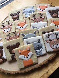 Woodland Critter Sugar Cookies with Fox, Bear, Deer, and Raccoon