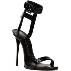 Giuseppe Zanotti Design strappy stiletto sandal ($525) ❤ liked on Polyvore featuring shoes, sandals, heels, sapatos, high heels, black, black ankle strap sandals, black sandals, high heels stilettos and heeled sandals