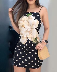 Dot Floral Print Spaghetti Strap Dress Women's Best Online Shopping - Offering Huge Discounts on Dresses, Lingerie , Jumpsuits , Swimwear, Tops and More. Belted Shirt Dress, Shirtdress Outfit, Grunge, Online Dress Shopping, Spaghetti Strap Dresses, Buy Dress, Pattern Fashion, Women's Fashion Dresses, Trendy Outfits
