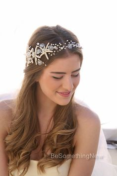 Beach Wedding Starfish And Pearl Wired Hair Vine Nautical Headpiece Destination Headband Beaded Tiara With Star Fish