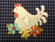 Hen Applique PDF Pattern for Tea Towel by by quiltdoodledesigns, $3.00