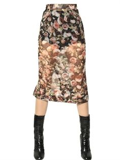 GIVENCHY - RUFFLED PRINTED SILK GEORGETTE SKIRT - LUISAVIAROMA - LUXURY SHOPPING WORLDWIDE SHIPPING - FLORENCE