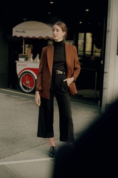 These pants have a flattering high waist and a wide leg with a cuff. They have darts and a jet pocket at the back, feature belt loops with topstitching. Made in Melbourne, Australia Fashion Pants, Fashion Outfits, Winter Outfits, Cool Outfits, Checked Blazer, Wool Pants, Women's Pants, Business Casual Outfits, Black Women Fashion