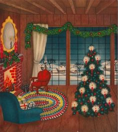 vintage christmas cards fireplaces | Vintage Greeting Card Christmas Interior Fireplace Parlor Window Tree ...