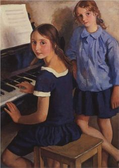 Girls at the piano, Zinaida Serebriakova / Девочки у рояля, Зинаида Серебрякова. 1922