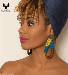 Earrings wax will give an original touch to your outfits. Opt for an original look and trendy, the look Afro-Chic. Various models available. Textile Jewelry, Fabric Jewelry, Diy Jewelry, Jewelery, Jewelry Making, Fabric Earrings, Diy Earrings, Earrings Handmade, Handmade Jewelry
