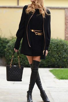 Black.. love the over-the-knee boots and gold belt!
