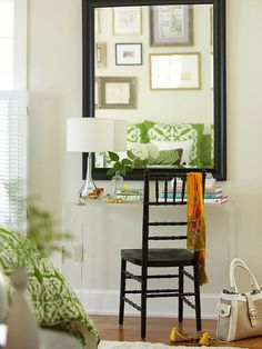 For a small-space desk, try a clear lucite table. Find 24 ideas to decorate apartments: http://www.bhg.com/decorating/small-spaces/strategies/ideas-to-steal-for-your-apartment/?socsrc=bhgpin082812lucitedesk#page=8