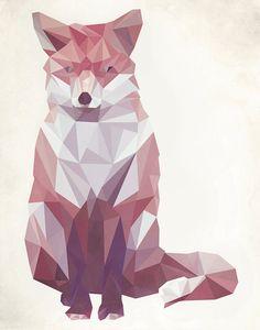 Geometric Fox Wall Art Prints by Keri Chubb Geometric Fox, Pattern Floral, Domino Art, Fox Art, Colorful Animals, Wildlife Art, Animal Paintings, Custom Art, Wall Art Prints