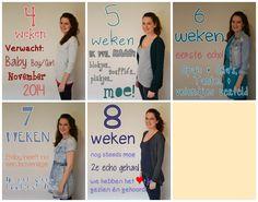 4, 5, 6, 7, 8 weeks pregnant. chalkboard idea.  4, 5, 6, 7, 8 weken zwanger. krijtbord idee.