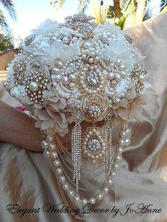 VINTAGE STYLE BOUQUET- Deposit for an Ivory and Gold Cascading Jeweled Wedding Brooch Bouquet, Brooch Bouquet, Jeweled Bouquet, Bouquet