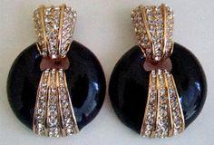Ciner Enamel & Diamonte Earrings