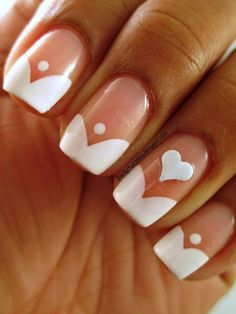White Tip, Modern French Manicure Style, Holiday, Valentine's day, White Heart, hearts, Free hand Nail Art