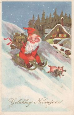 Chromolitho card red gnome dwarf with pig new year Fritz Baumgarten | eBay