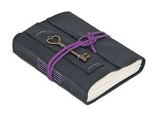 Black Leather Wrap Journal with Heart Key Bookmark by boundbyhand, $33.00