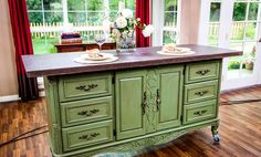 DIY Kitchen Island from old dresser...The Domestic Curator