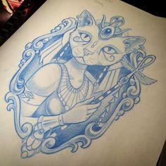 Progress  Egyptian Goddess Bastet #tattoo #egyptian #wip #klaushubertattoo #goddess #design #drawing #art #newschooltattoo #newschool #bastet #inkedgirls