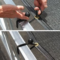 Use these handy bungees to easily attach any fabric with grommeted edges Perfect for shade cloth or tarps shadecloth shade install installation greenhouse pergola backyard shading tarp diy garden # Pergola Diy, Metal Pergola, Outdoor Pergola, Pergola Shade, Pergola Plans, Backyard Shade, Modern Pergola, Patio Shade, Outdoor Curtains