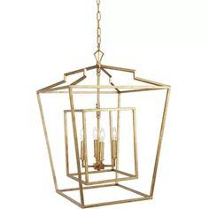 Birch Lane™ Brockton 5-Light Candle Style Geometric Chandelier | Wayfair Lantern Ceiling Lights, Lantern Chandelier, Rectangle Chandelier, Lantern Pendant, Chandelier Lighting, Candelabra, Chandeliers, Kitchen Lights Uk, Large Lanterns