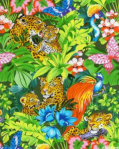 In the Tropics - Lounging Leopards - Jungle Green