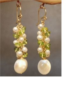 Princess 200 Peridot with ivory pearls by CalicoJunoJewelry, $92.00