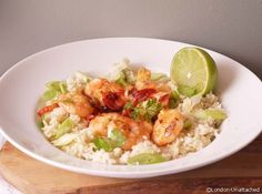 5;2 diet recipe Garlic Chilli Prawns in Coriander Caulflower Rice - 227 calories for a substantial and filling meal