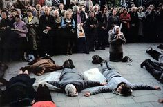 Starving in Lithuania in front of the Church in Vilnius, they stand for independence and religious freedom
