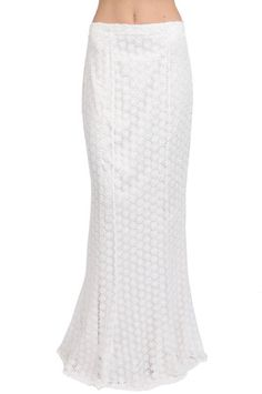 The Long Lace Skirt in White by Kay Unger New York at CoutureCandy.com