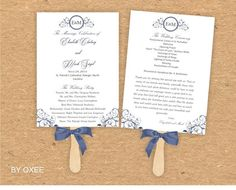 Printable Wedding ceremony fan program template Navy Blue by Oxee