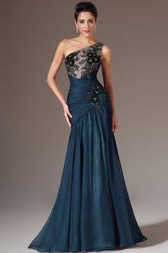 Teal Floor-Length One Shoulder Mermaid Chiffon Sleeveless Dress