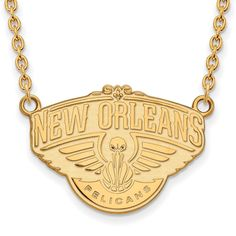 LogoArt Gold Plated New Orleans Pelicans Pendant with Necklace