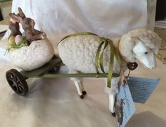 ADORABLE TAGGED BETHANY LOWE SHEEP PULLING EASTER BUNNY RABBIT CART!