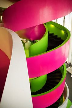 Looks more like a water park, but I see the stairs. In this space I might prefer to stay on one level.