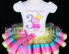 Tutu de cumpleaños Peppa Pig - Peppa Pig Tutu vestido - vestido de fiesta - traje del tutú de Peppa Pig - Peppa Pig cumpleaños Vestido de tutú de Peppa Pig