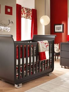 Red And Light Brown Interior Walls Pictures Of Baby Boy Nursery Modern Style With Black Crib And Drawers With Luxury Curtains And Unique Hook: Red Nursery, Nursery Modern, Nursery Room, Boy Room, Girl Nursery, Nursery Decor, Nursery Ideas, Kids Room, Modern Nurseries