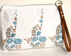 Summer White Cotton Embroidered Clutch by ALFrancesDesigns on Etsy, $38.00