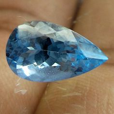 2 Carat 6.7x11.4 MM AQUAMARINE HIGH QUALITY PEAR SHAPE TOP COLOR FACETED STONE #NAAZGEMS