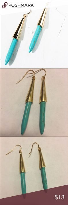 """Natural Turquoise Drop Earrings Natural Turquoise Drop Earrings with vintage style gold accent.                                                                                                Material: Zinc Alloy,  Length: 2"""" Beach Wave Jewelry Earrings"""
