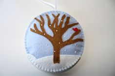 Felt Christmas Ornament First Snow by GeorgeNRuby on Etsy