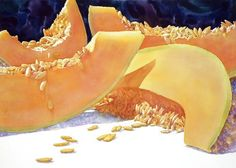 Cantalope Crossing by Sue Archer Watercolor Fruit, Fruit Painting, Watercolor Paintings, Flower Paintings, Watercolours, Pastel, Food Illustrations, Lovers Art, Photo Illustration