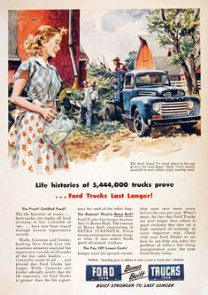 Life histories of trucks prove Ford Trucks Last Longer! With view of an Ford Truck hard at work on the farm. Ford Classic Cars, Classic Chevy Trucks, Vintage Advertisements, Vintage Ads, Vintage Cameras, Vintage Stuff, Vintage Colors, Station Wagon, 1948 Ford Truck