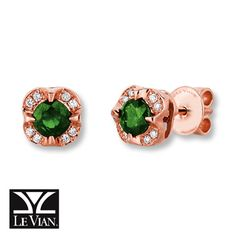 LeVian Earrings Pistachio Diopside 14K Strawberry Gold