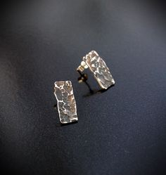 Silver rectangular stud earrings with hammered and oxidised texture- Hand forged by Adamson Jewellery Sterling Silver Earrings Studs, Stud Earrings, Slave Bracelet, Natural Forms, Statement Rings, Anklet, Diesel, Chokers, Texture
